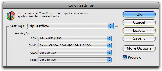 Load color settings